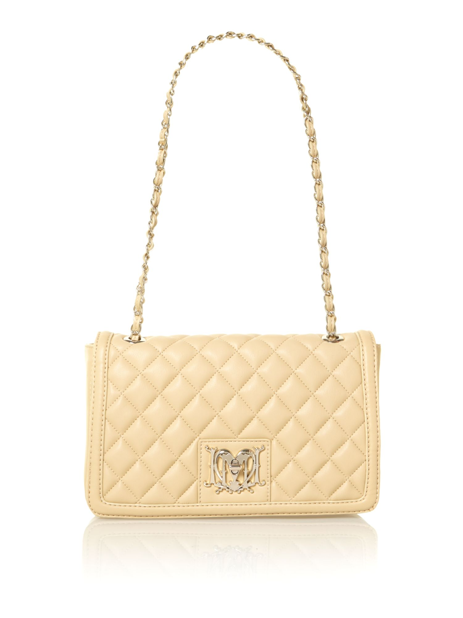 Neutral medium flapover quilted shoulder bag