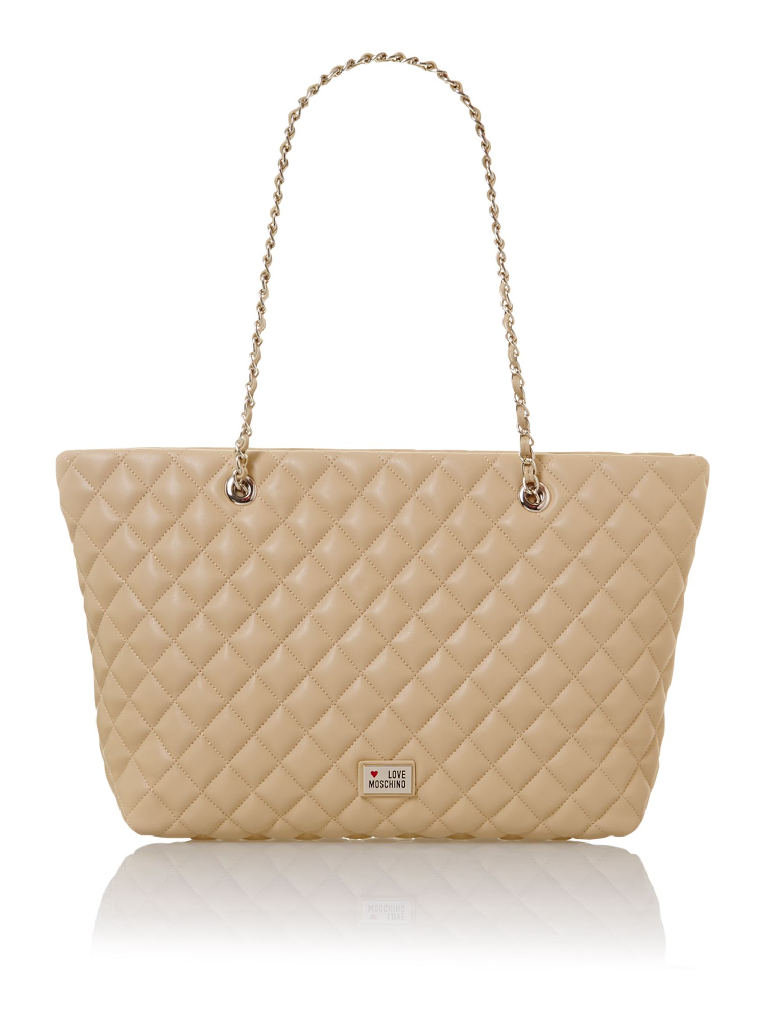 Neutral large quilted tote bag