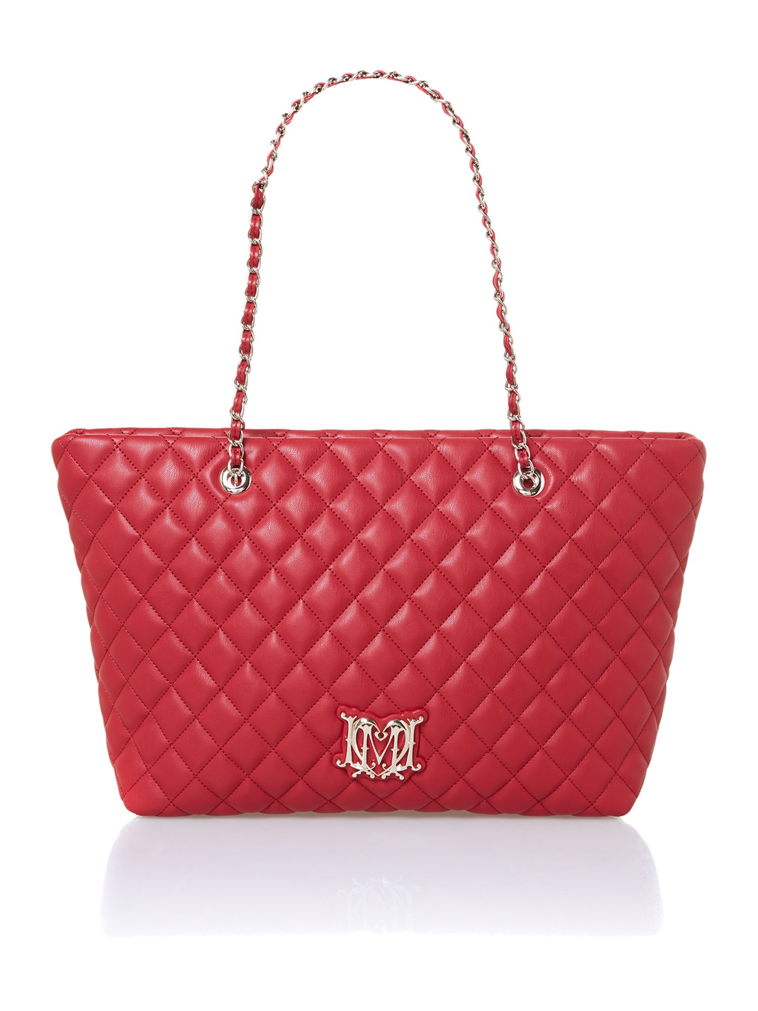 Red large quilted tote bag