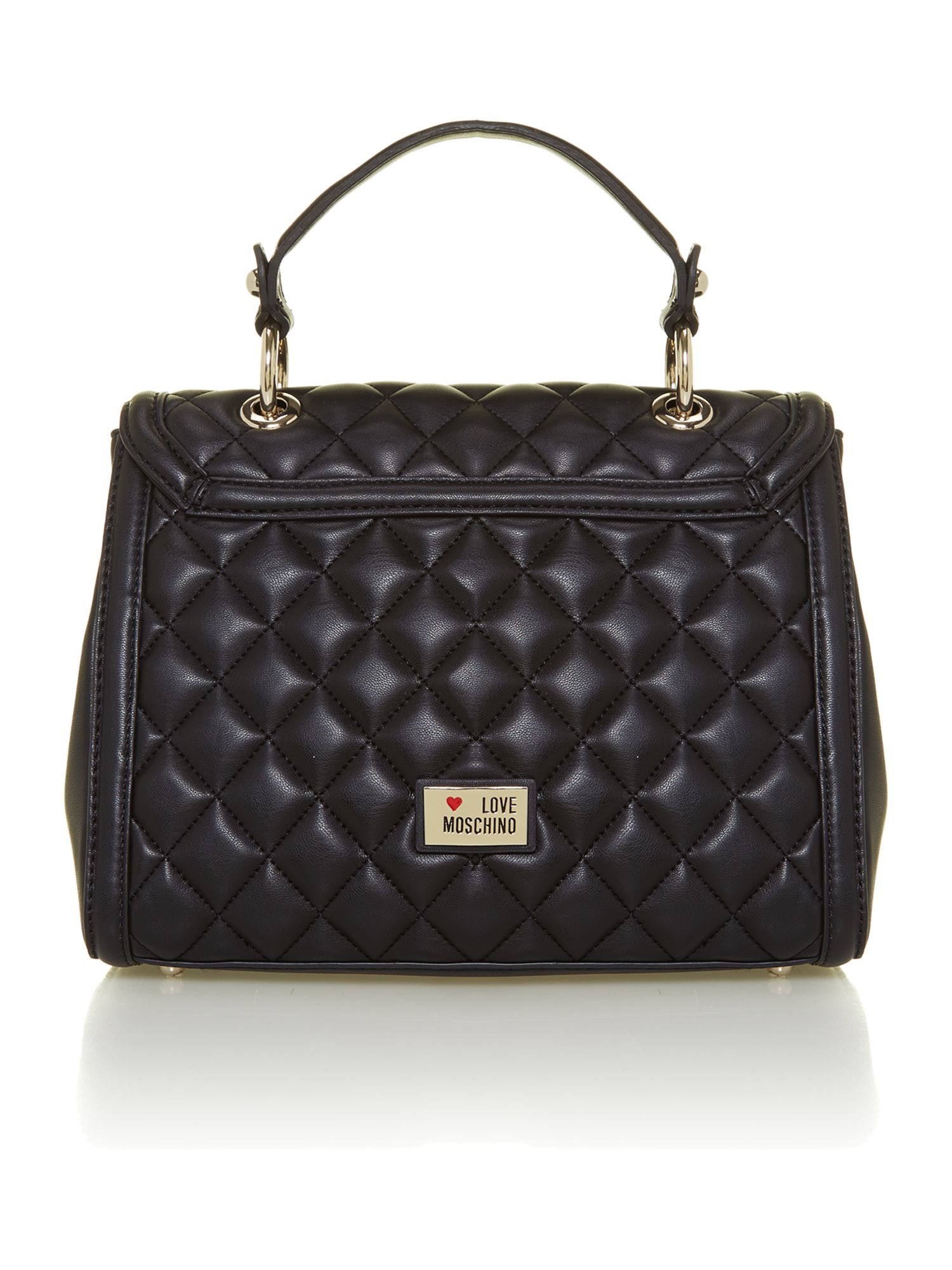 Black small quilted flapover bag