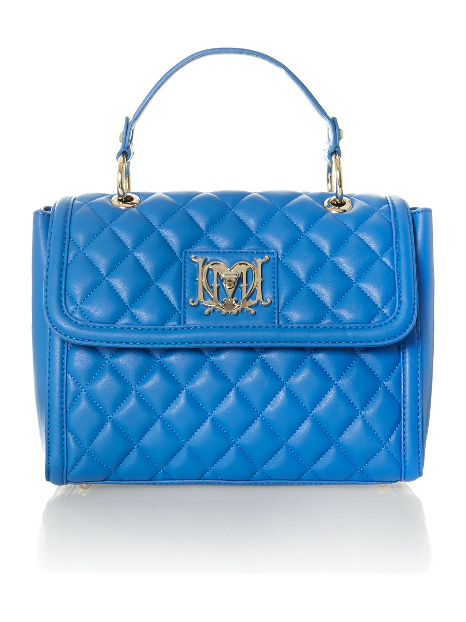 Blue small quilted flapover bag