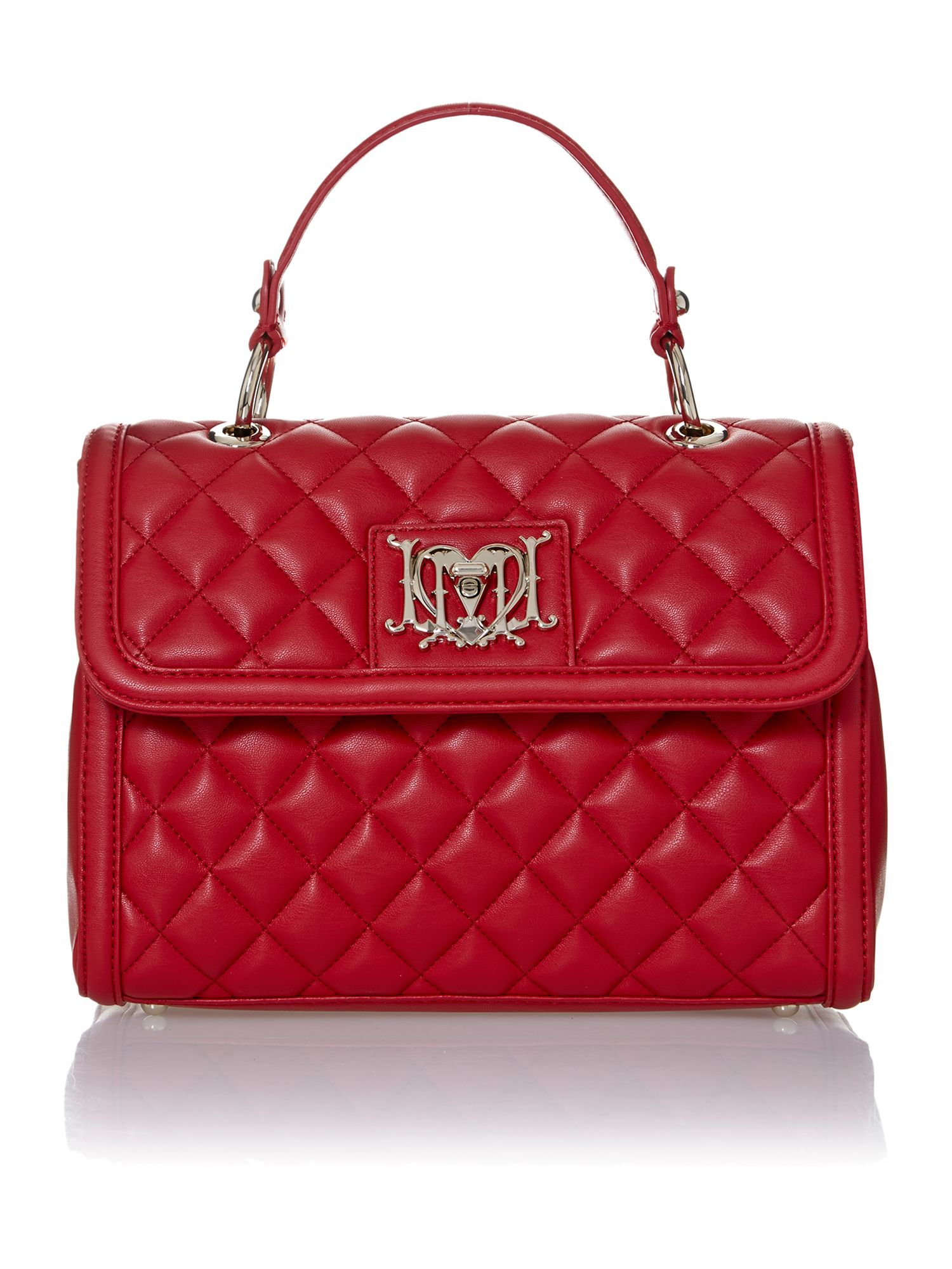 Red small quilted flapover bag