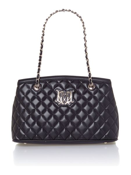 Love Moschino Black medium quilted tote bag