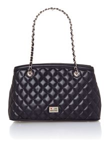 Black medium quilted tote bag