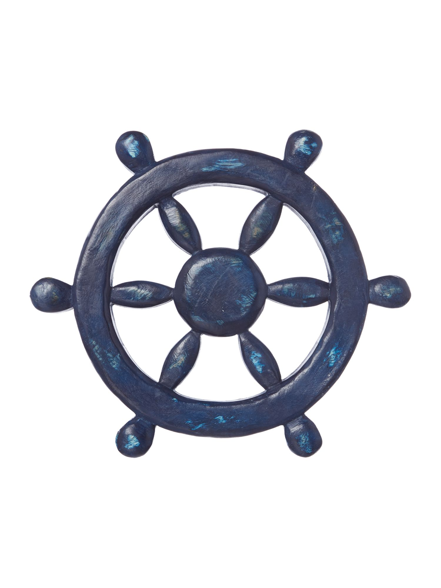 Wooden ships wheel ornament
