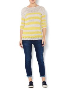 Stripe tape yarn jumper