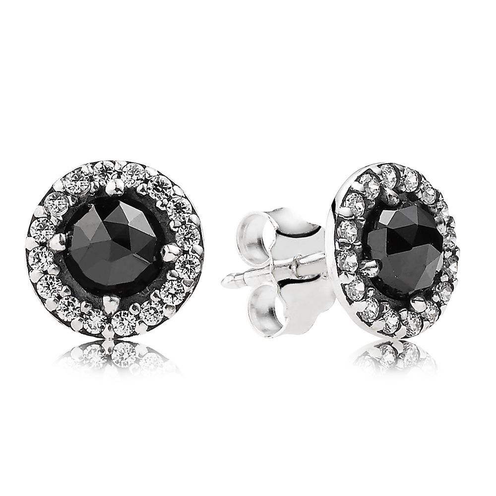 Sparkling black spinel stud earrings