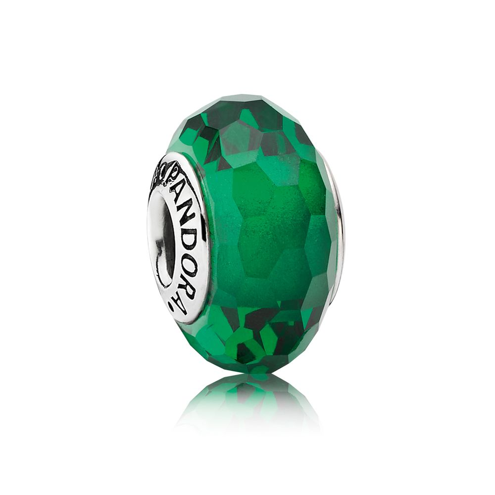 Green faceted murano charm
