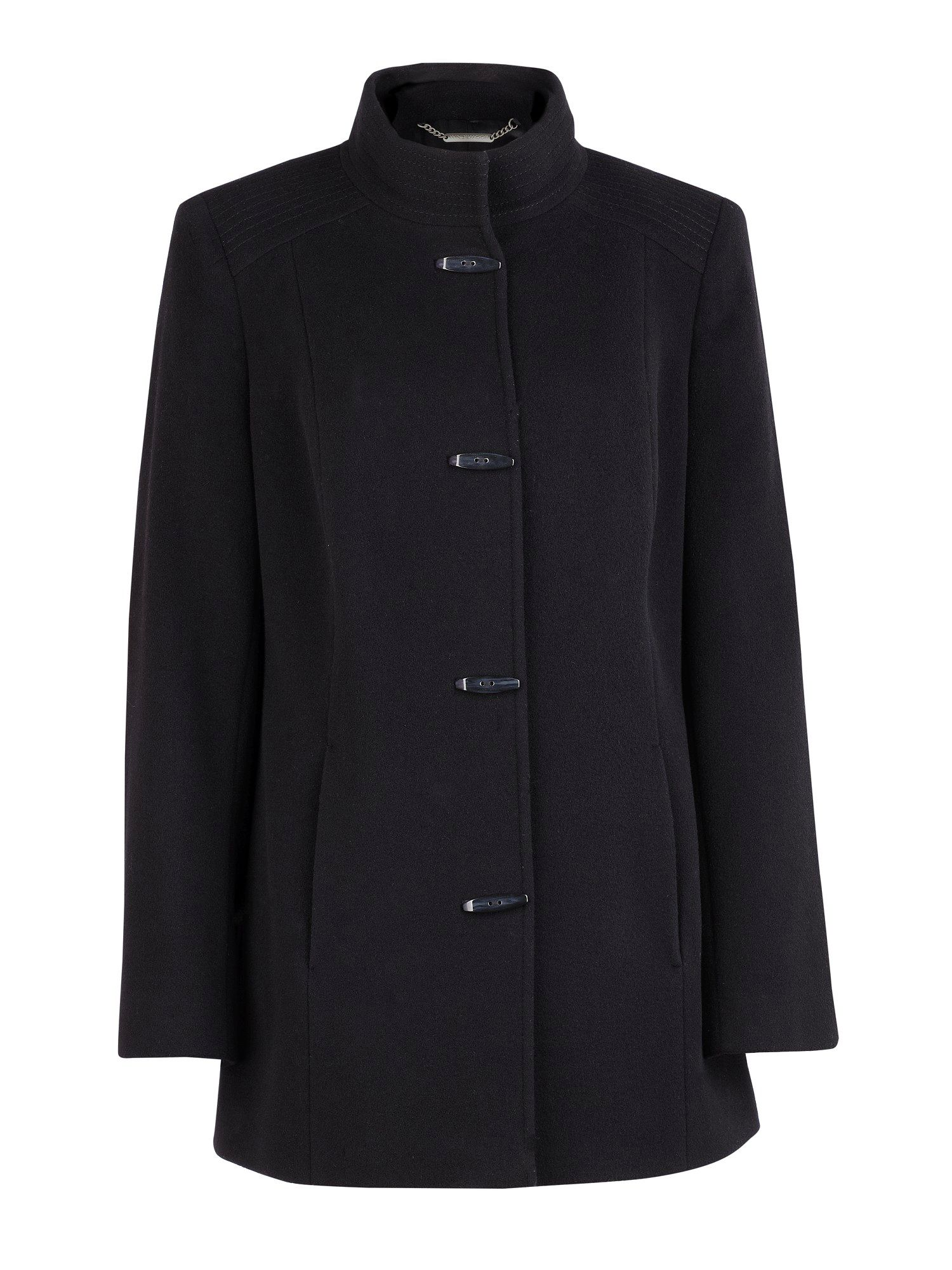 Black short funnel neck coat