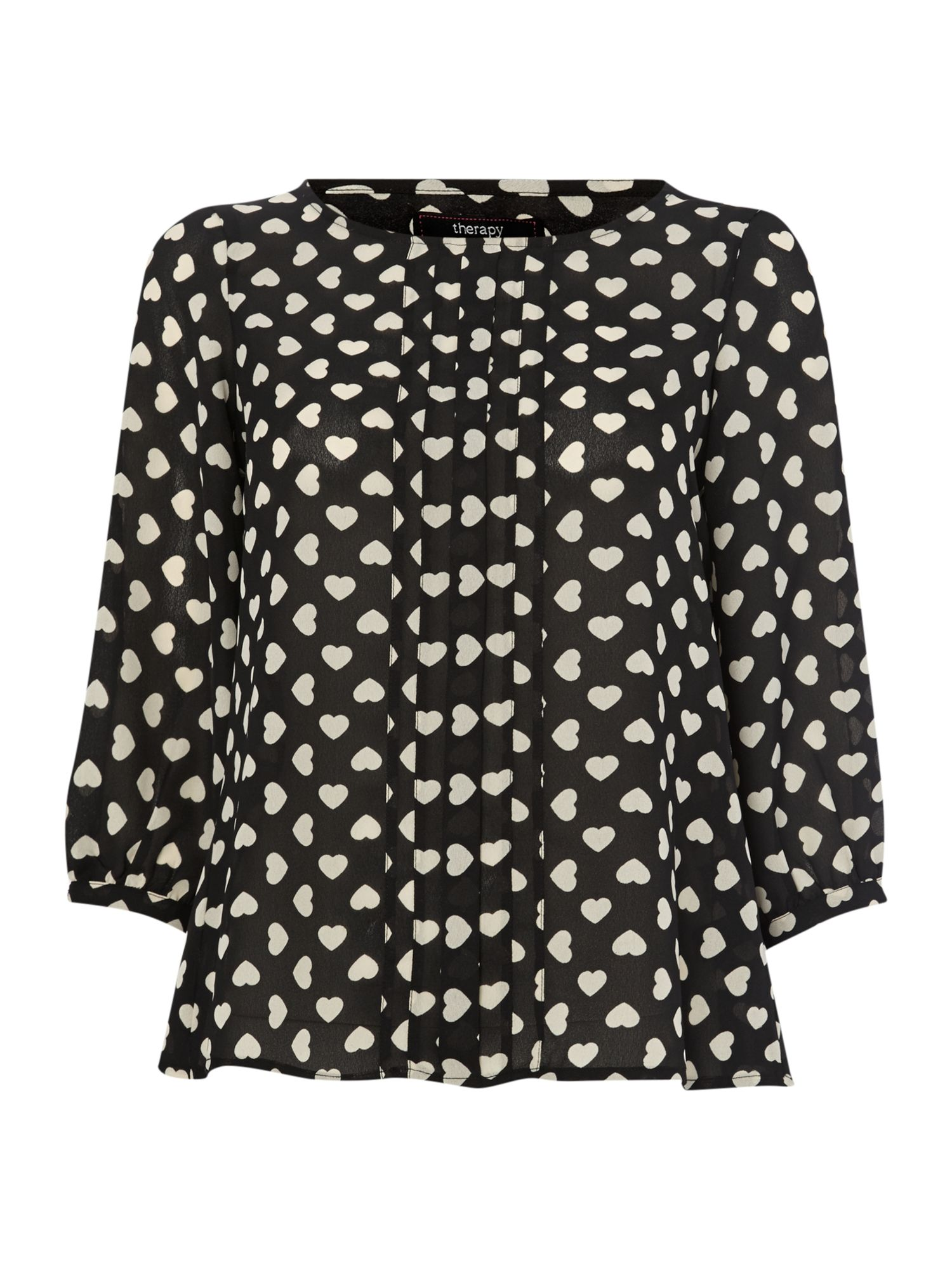 Heart print wrap back blouse