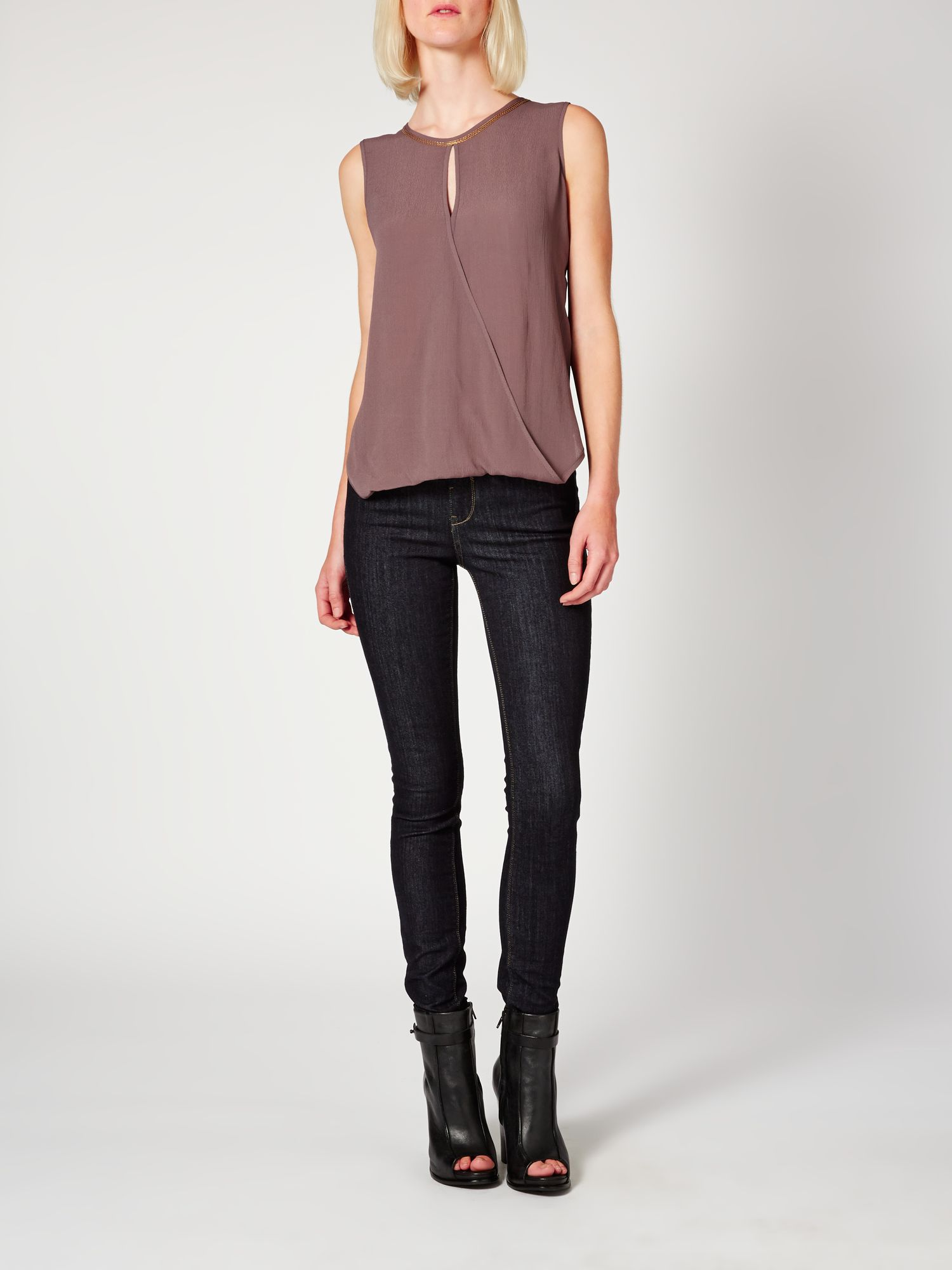 Chain embellishment wrap top