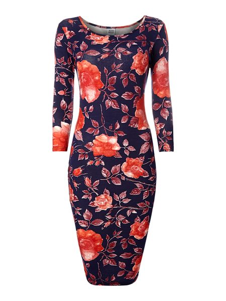 Vero Moda Long sleeve rose print bodycon midi dress