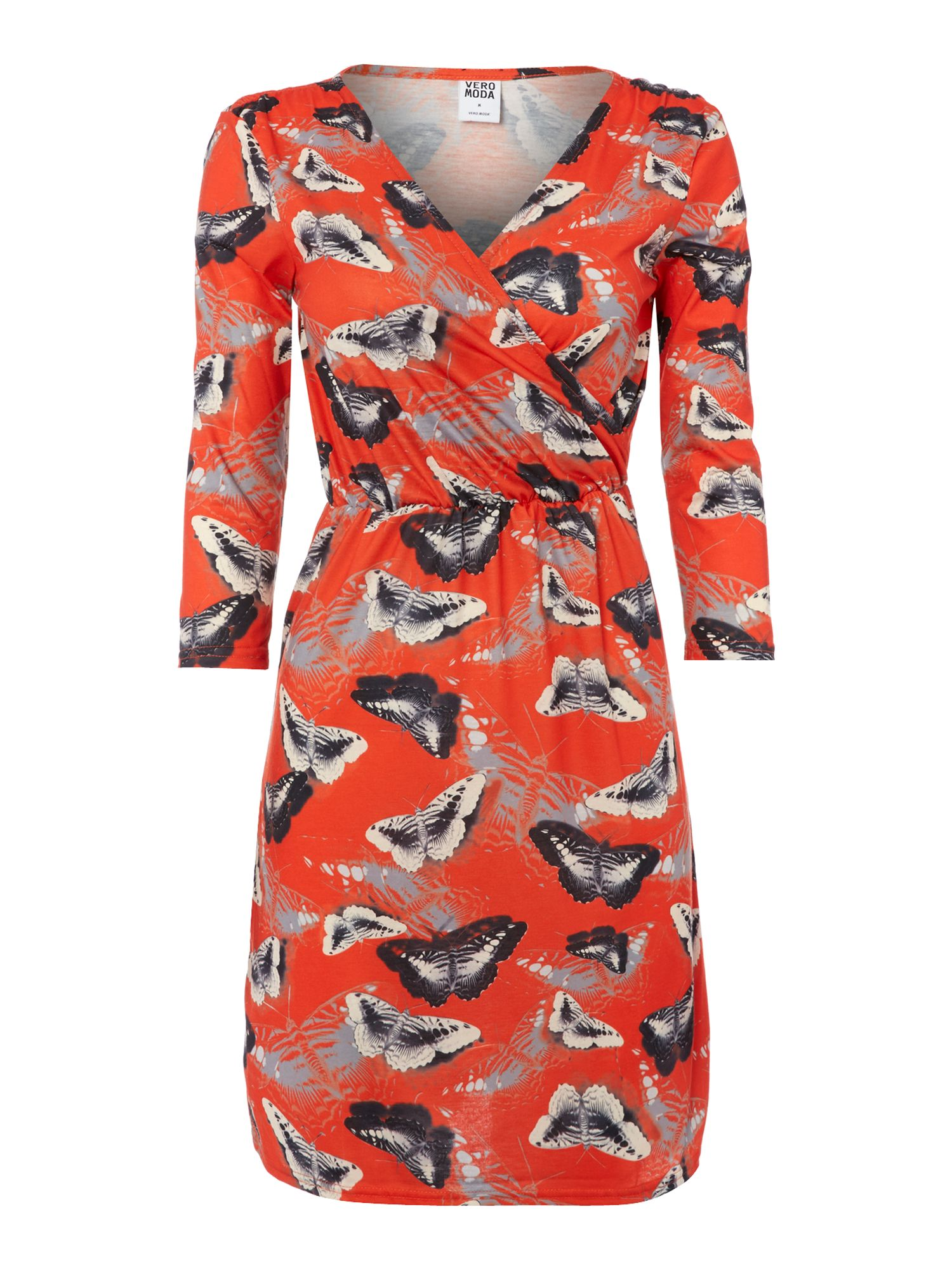 3/4 Sleeve butterfly wrap dress