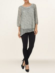 Libby dot pleated blouse