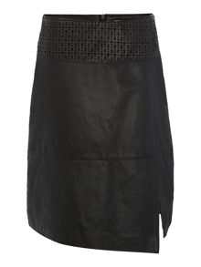 Leather laser cut skirt
