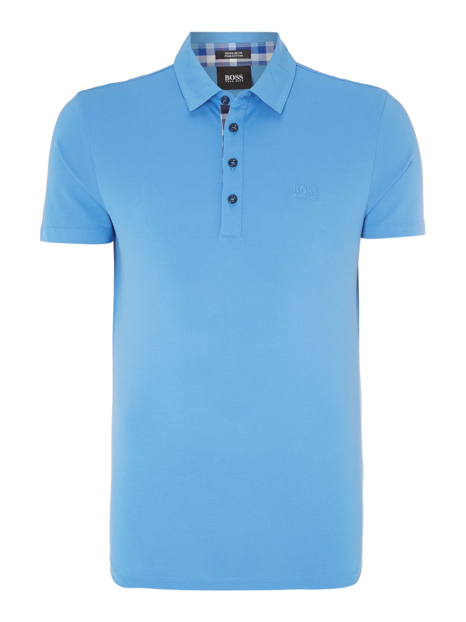 Pique collar check polo shirt