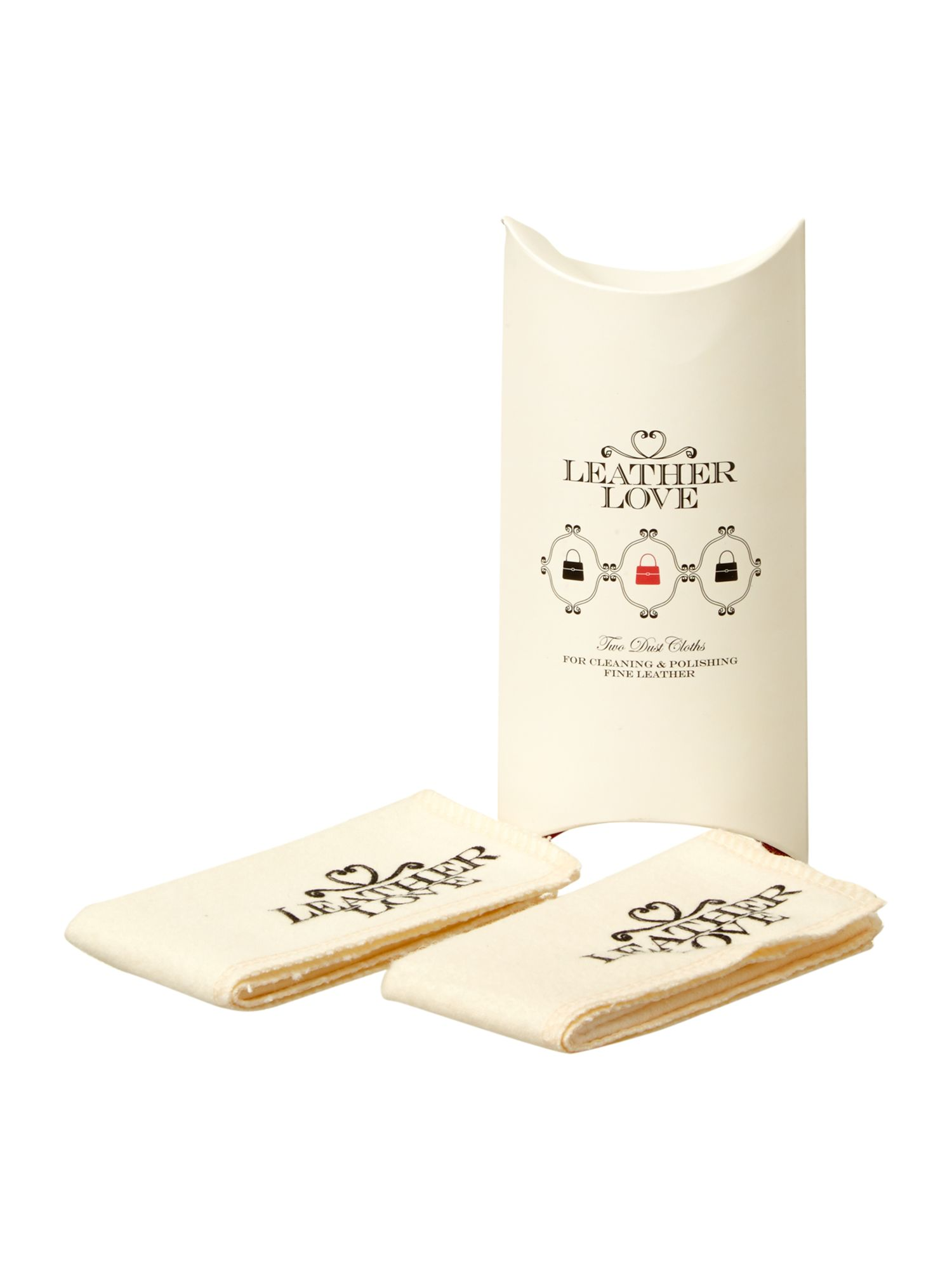 Leather Love Luxury dust cloths, White
