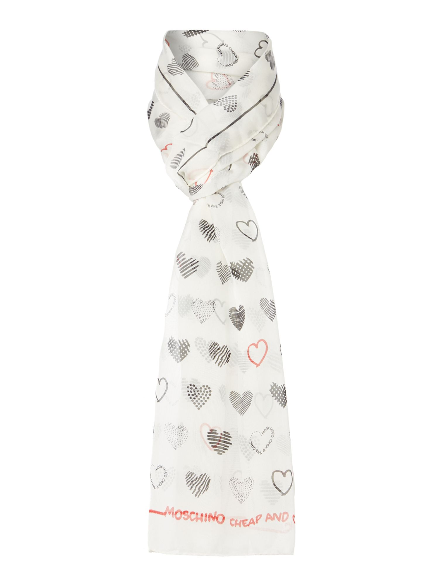 Chiffon silk heart oblong scarf