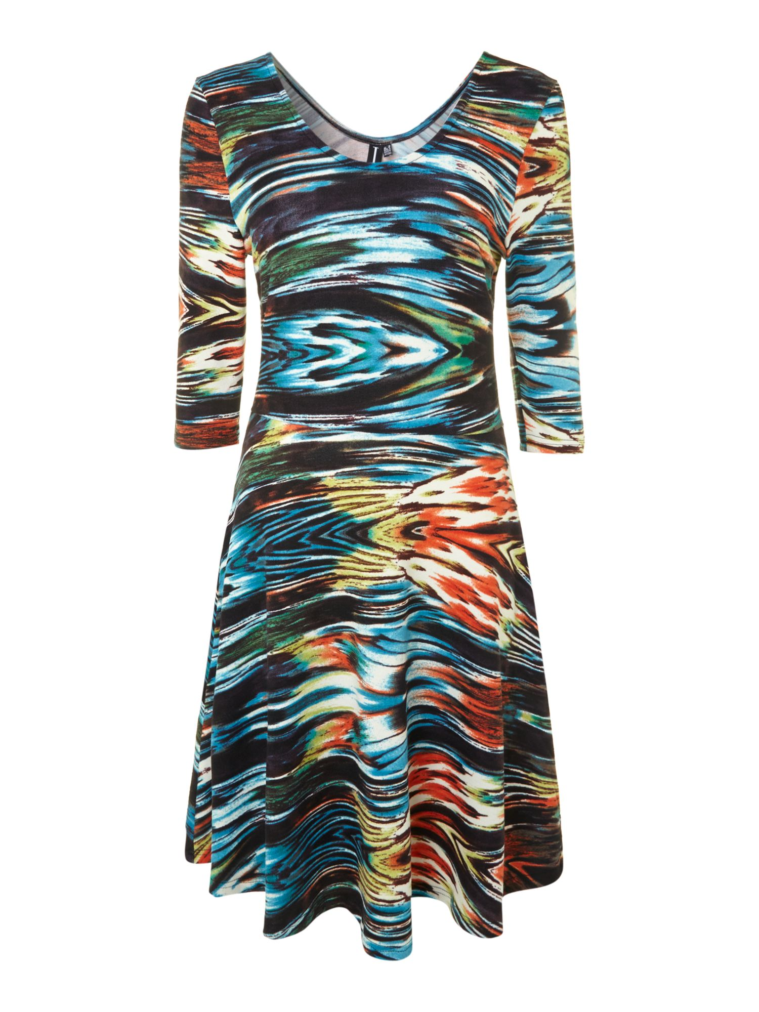 Cosmic print scoop back skater dress