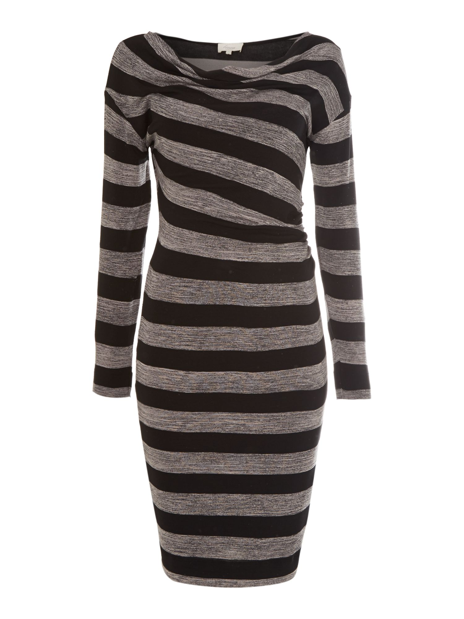 Brush stripe cowl neck dress
