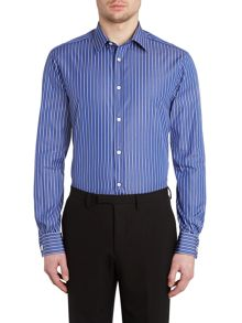 Tanaro two colour thin stripe double cuff shirt