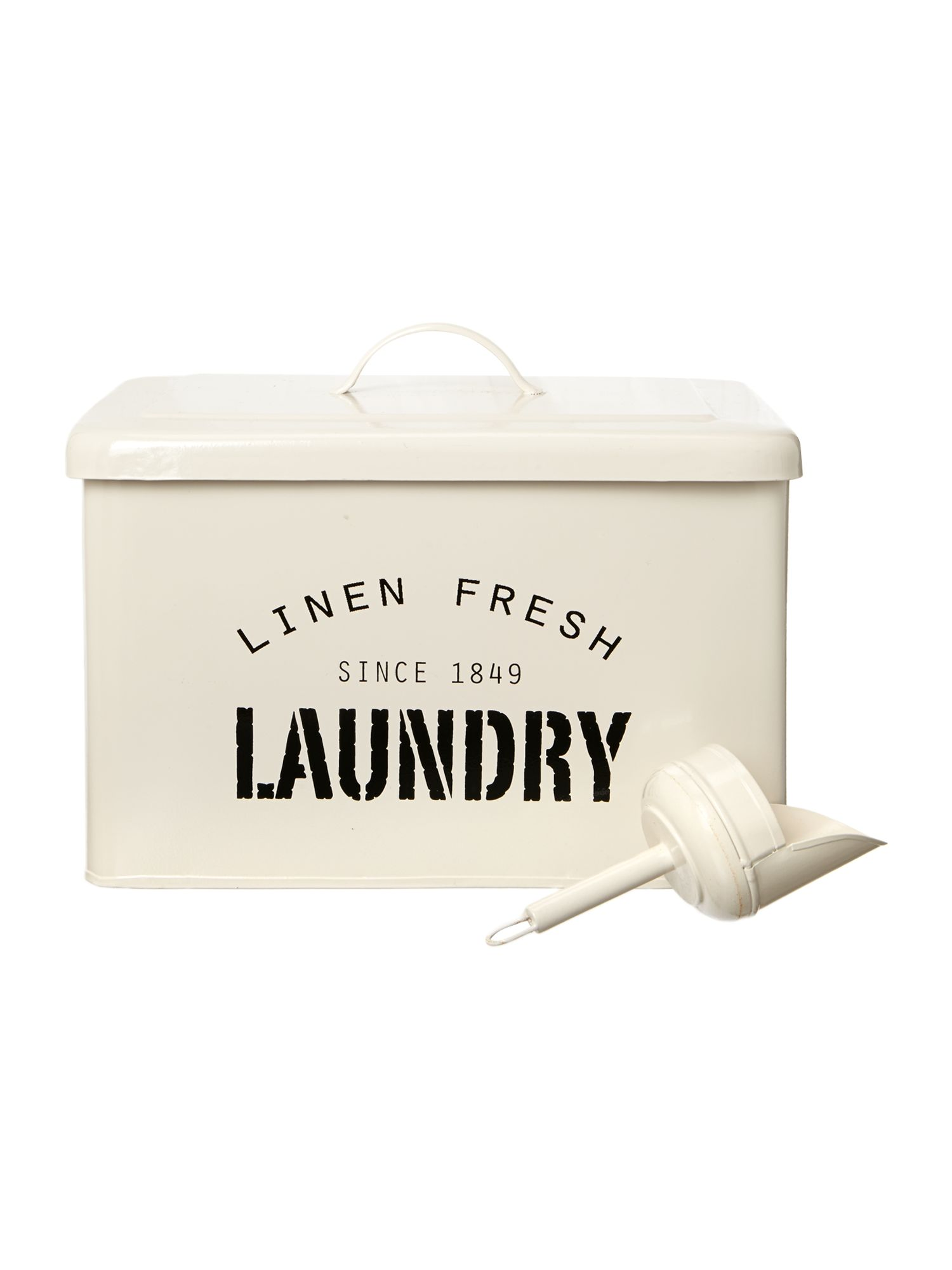 Laundry tin box with removable scoop