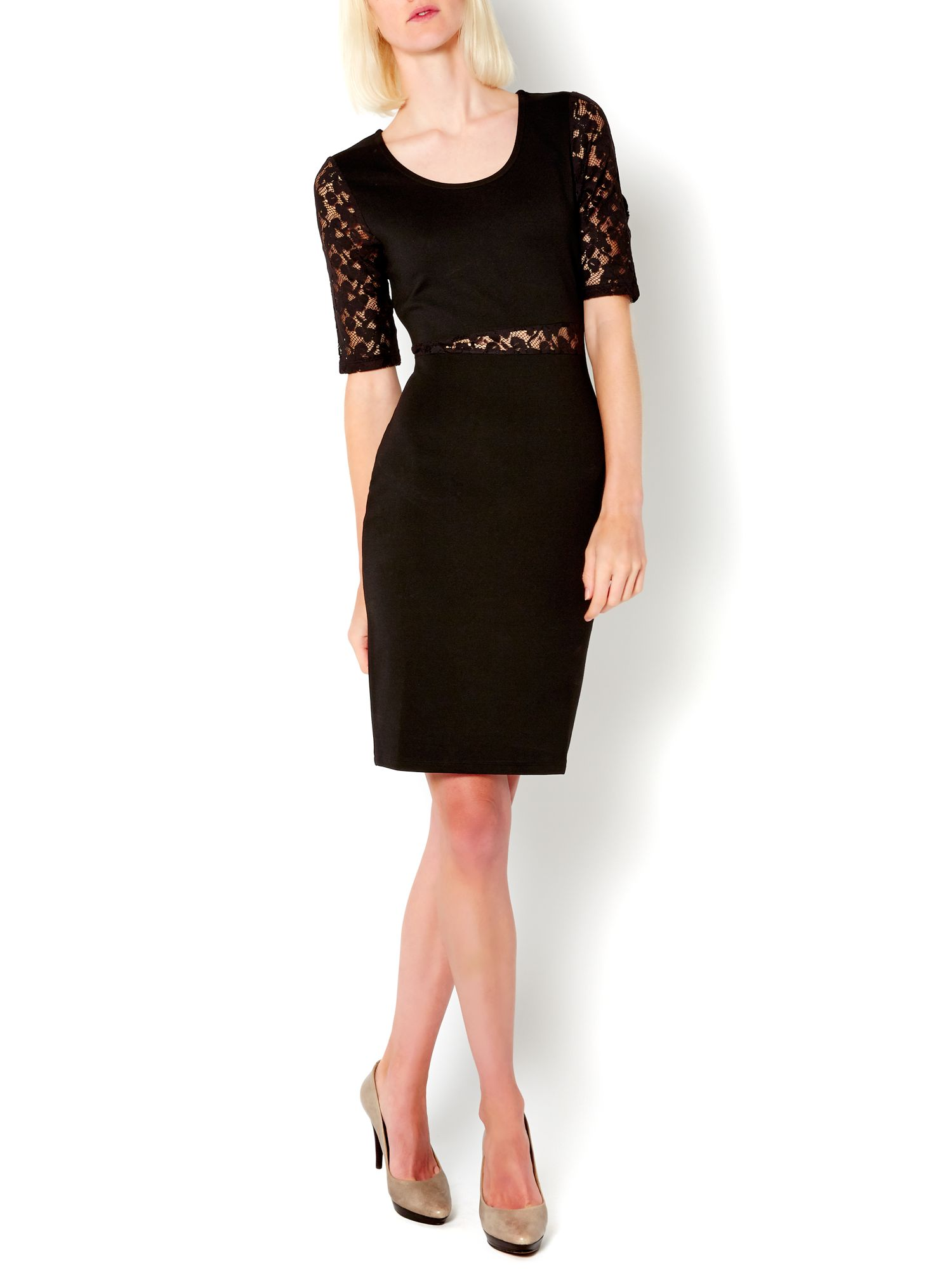 Lace panelled bodycon tube dress