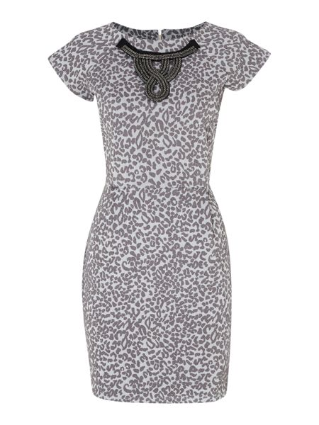 Therapy Leopard jaquard tulip dress with necklace