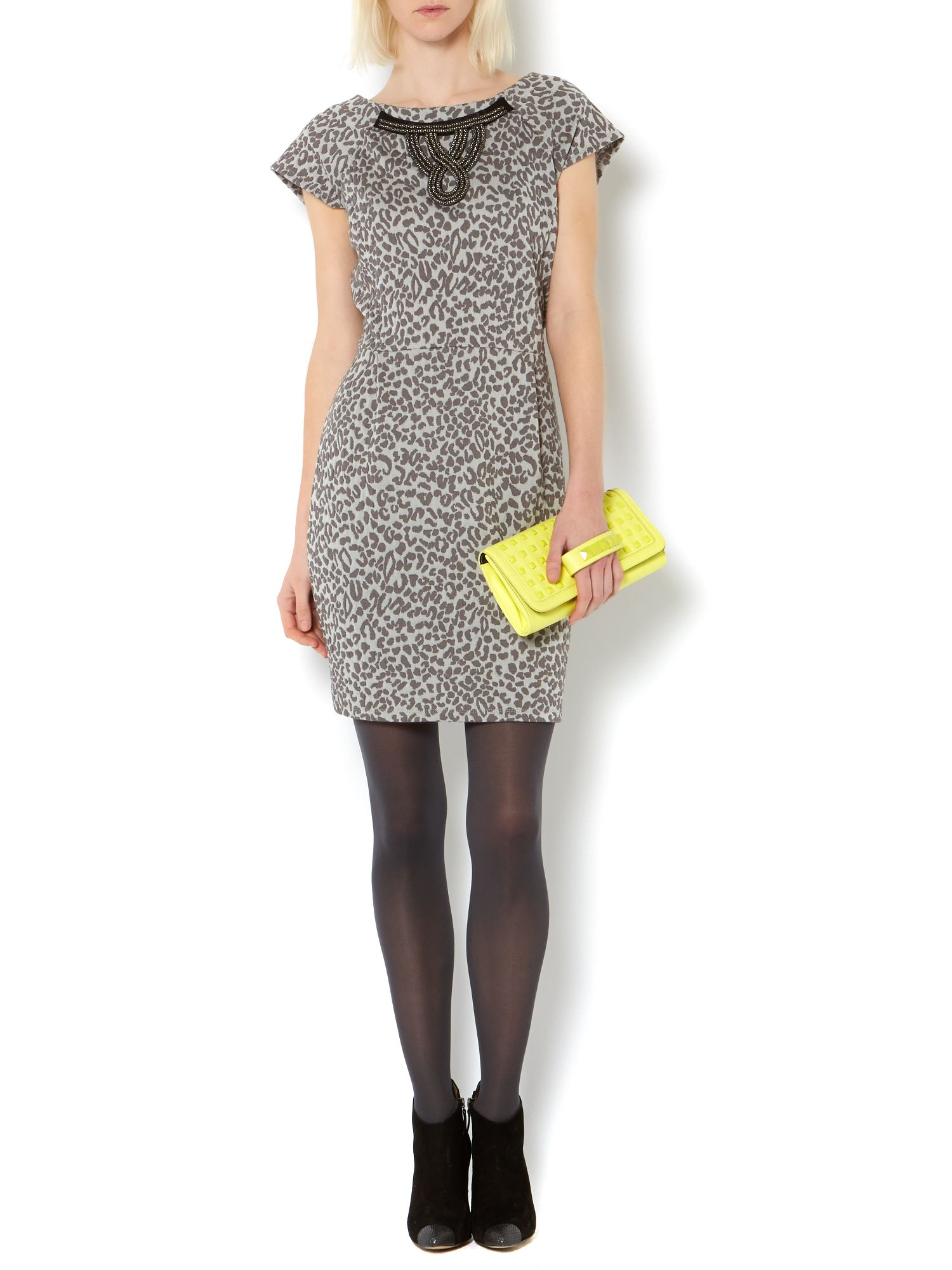 Leopard jaquard tulip dress with necklace