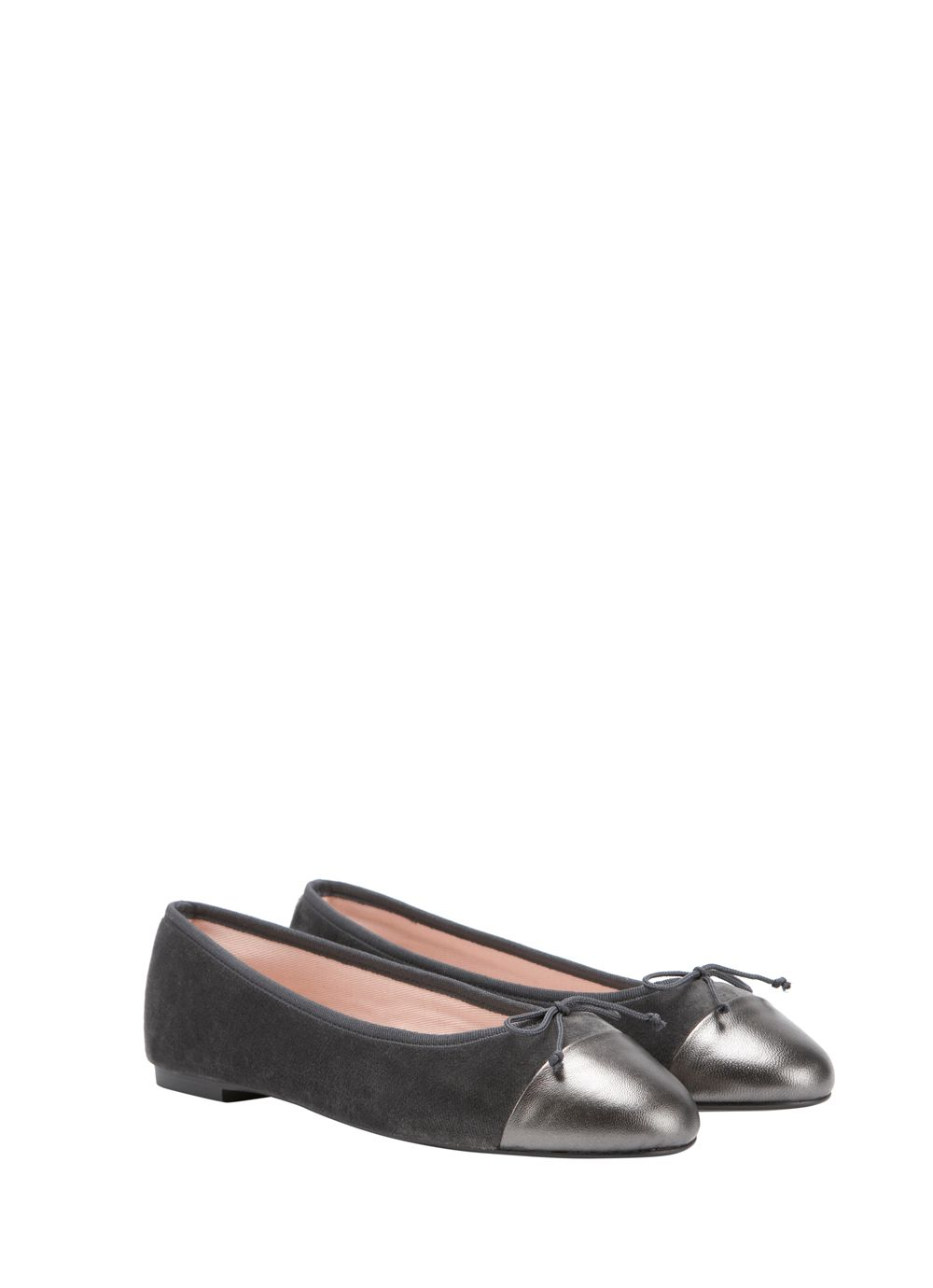 Grey velvet & metallic ballet pumps