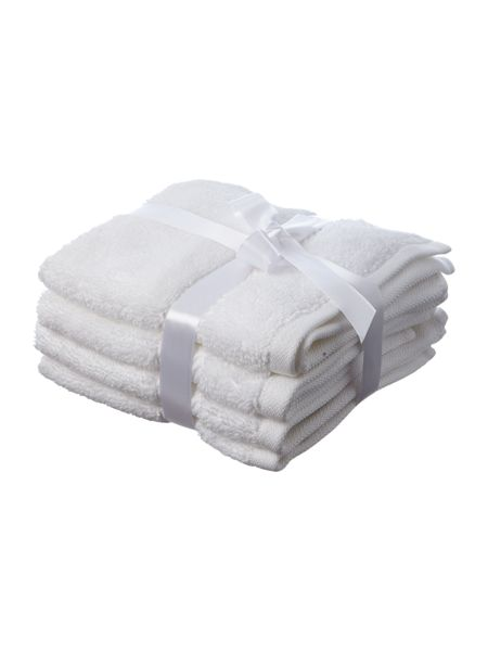 Luxury Hotel Collection Face Cloth in White (Set of 4)