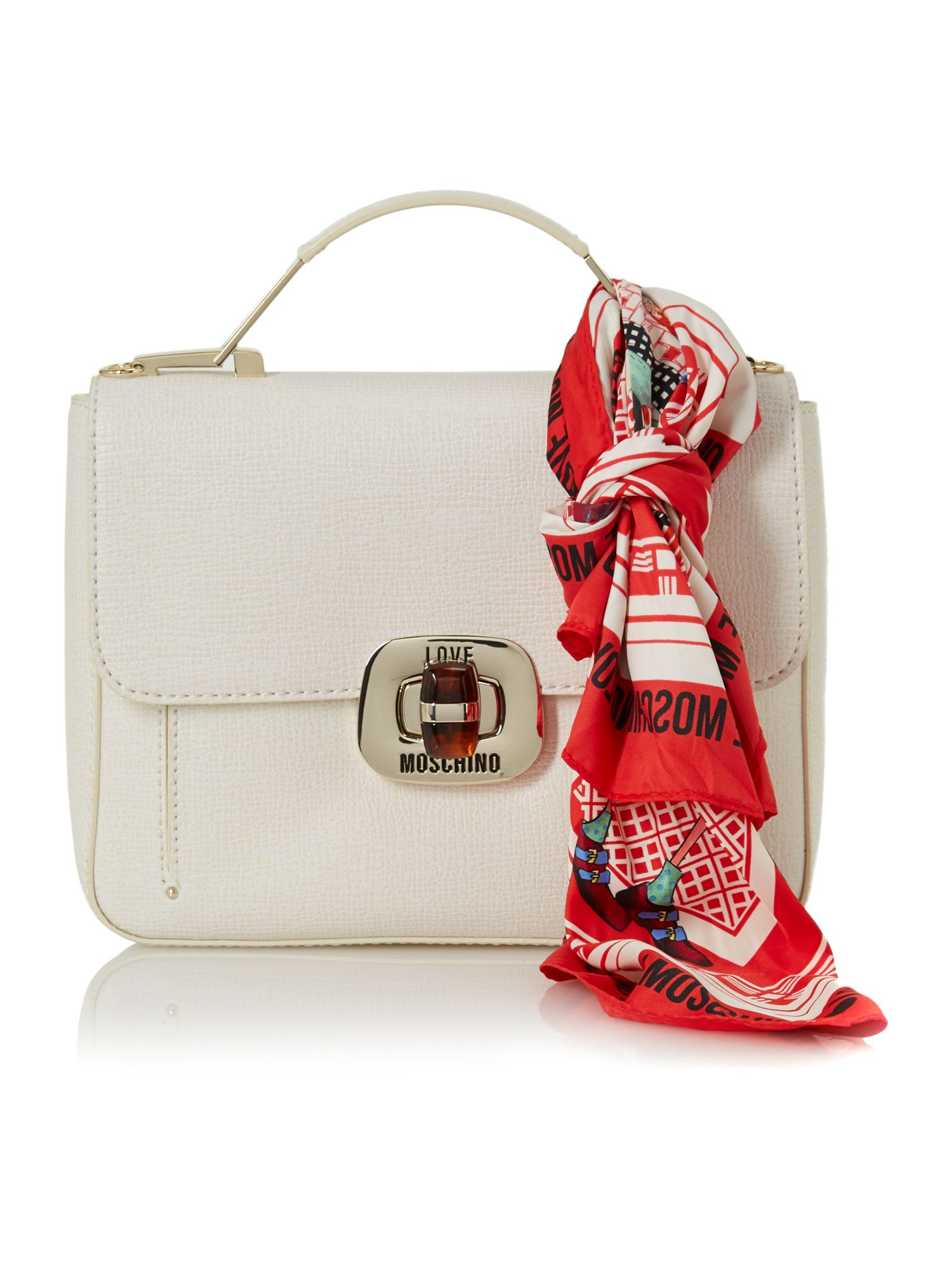 Saffiano white small flapover tote bag