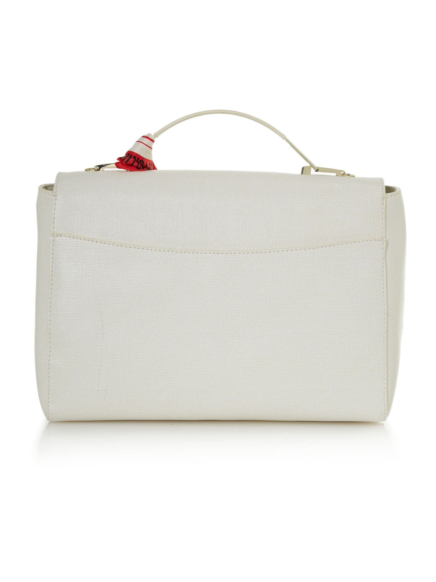 Saffiano white large flapover tote bag