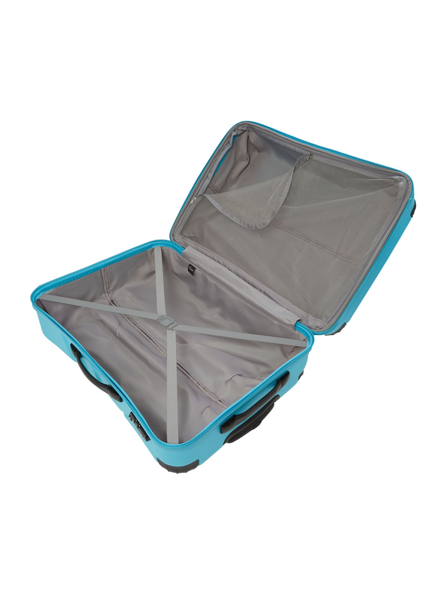 Shell aqua 4 wheel hard large suitcase