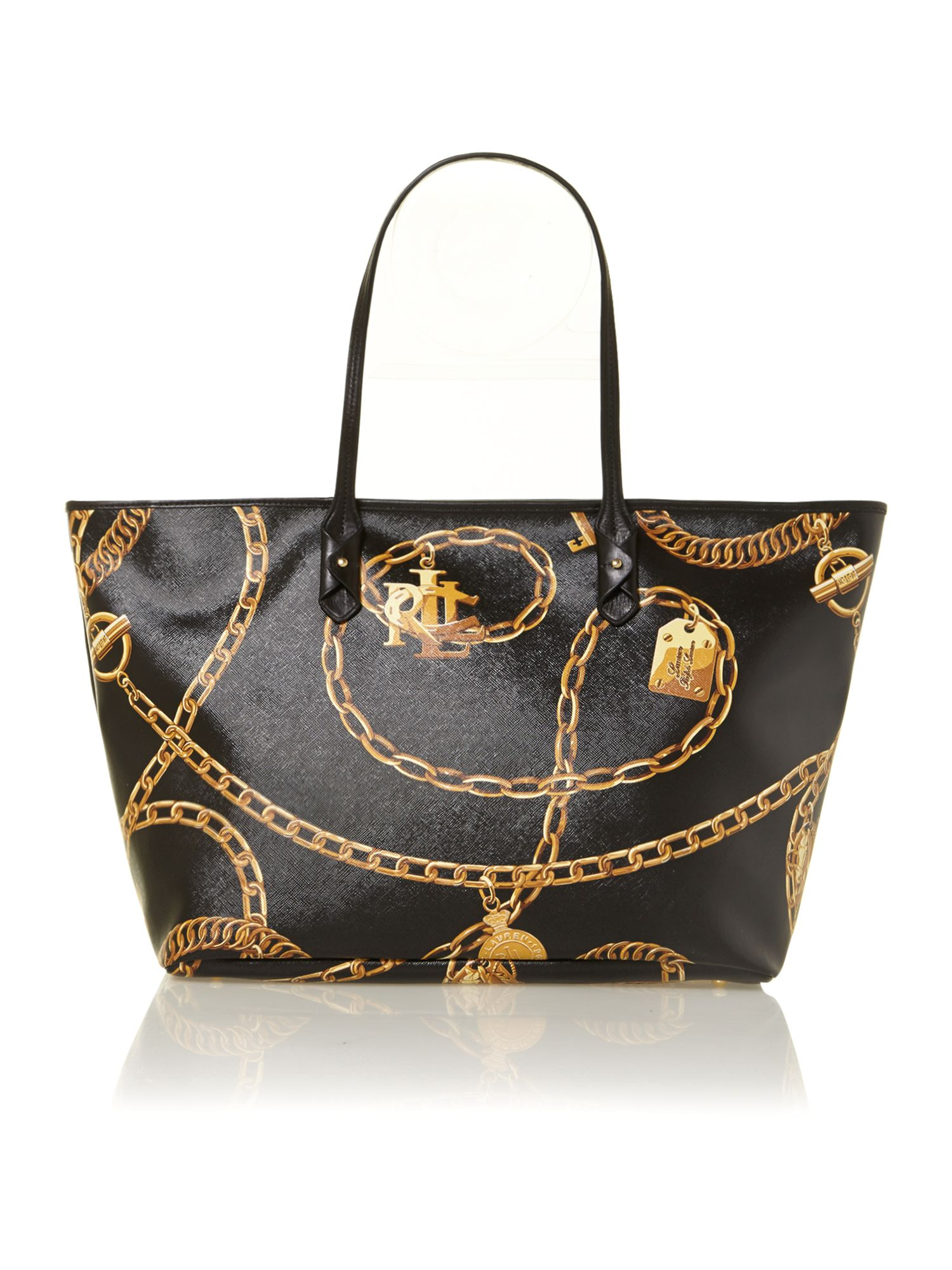 Halstead black large print tote bag