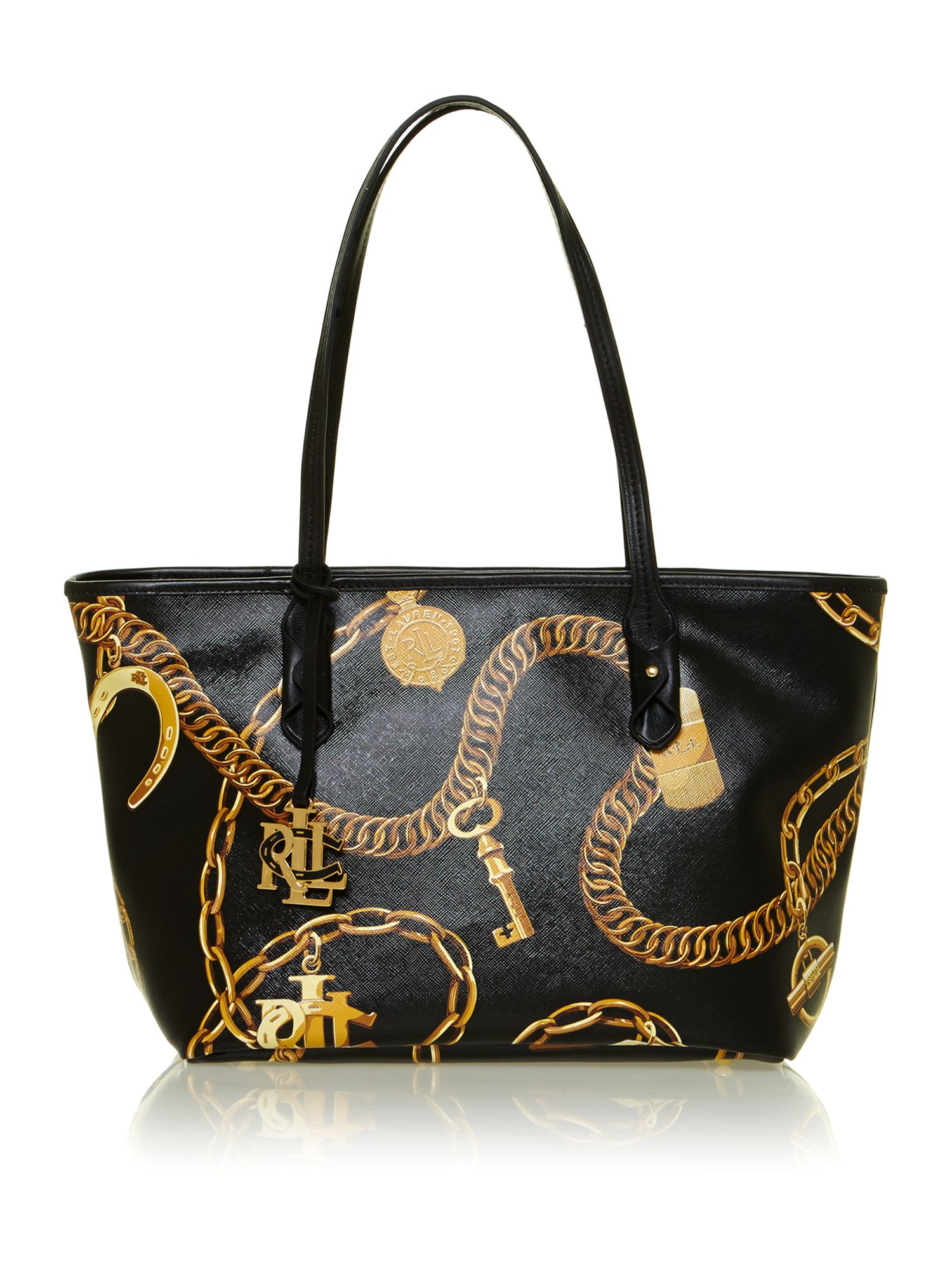 Halstead black small print tote bag