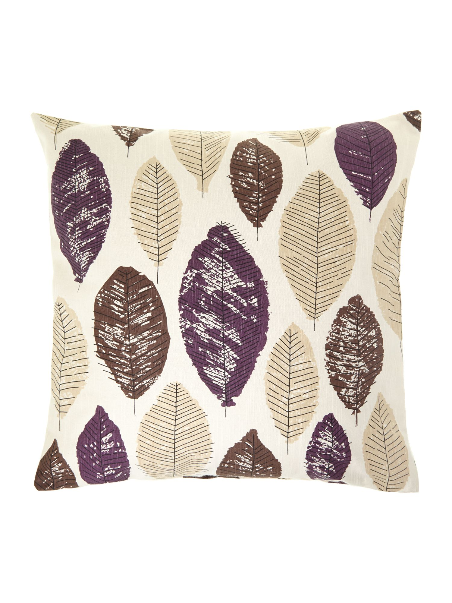 Leaf design cotton cushion, purple