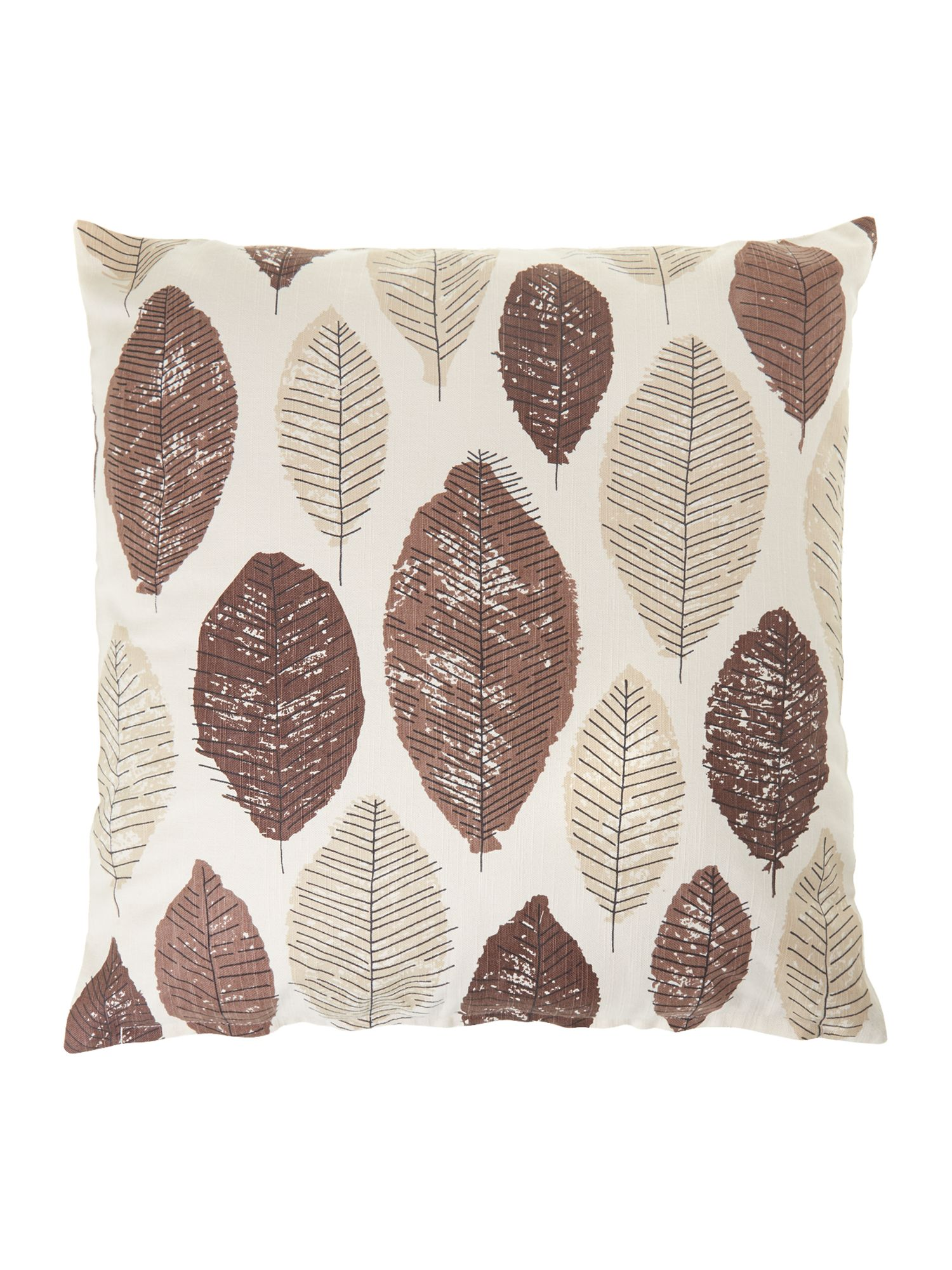 Leaf design cotton cushion, chocolate