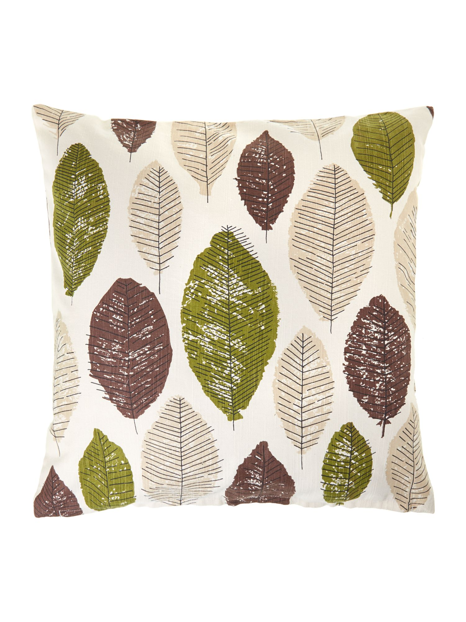 Leaf design cotton cushion, green