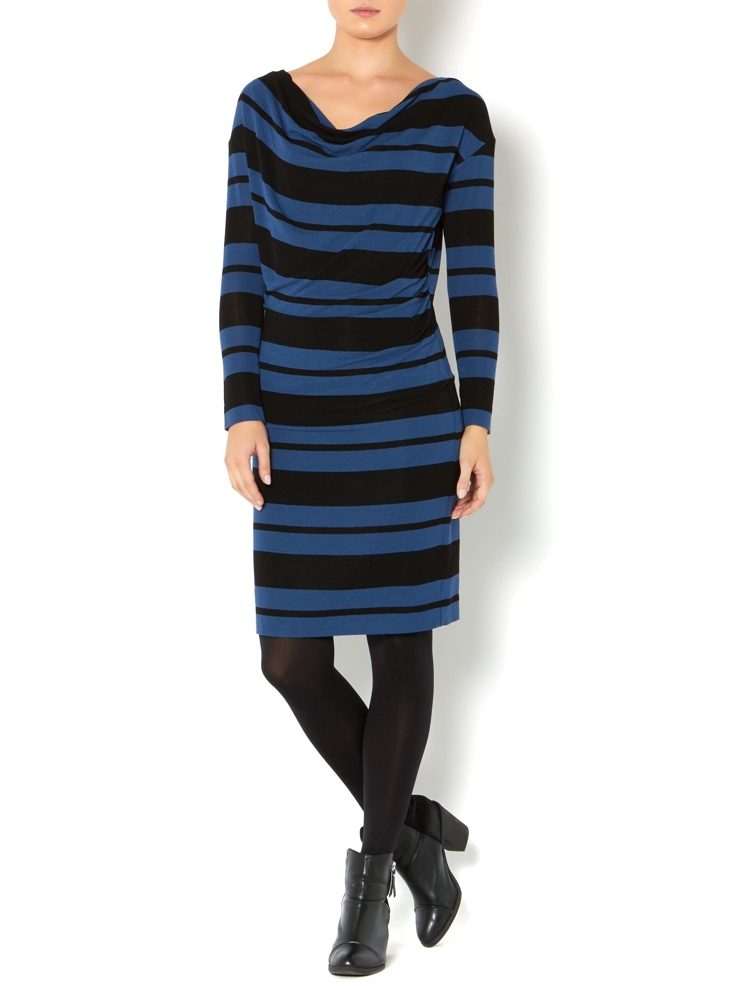 Stripe cowl knitted dress