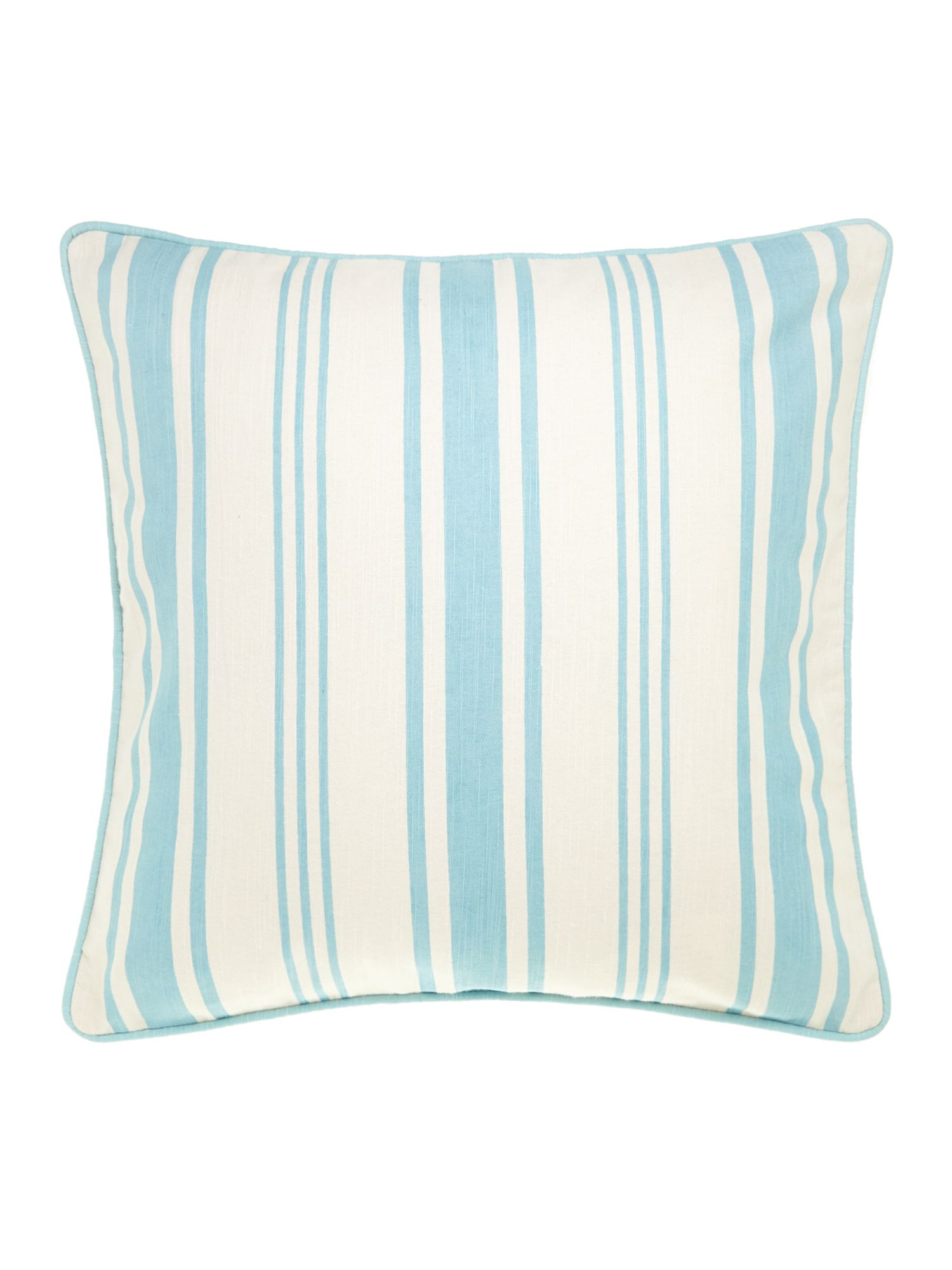 Stripe cotton cushion, duck egg