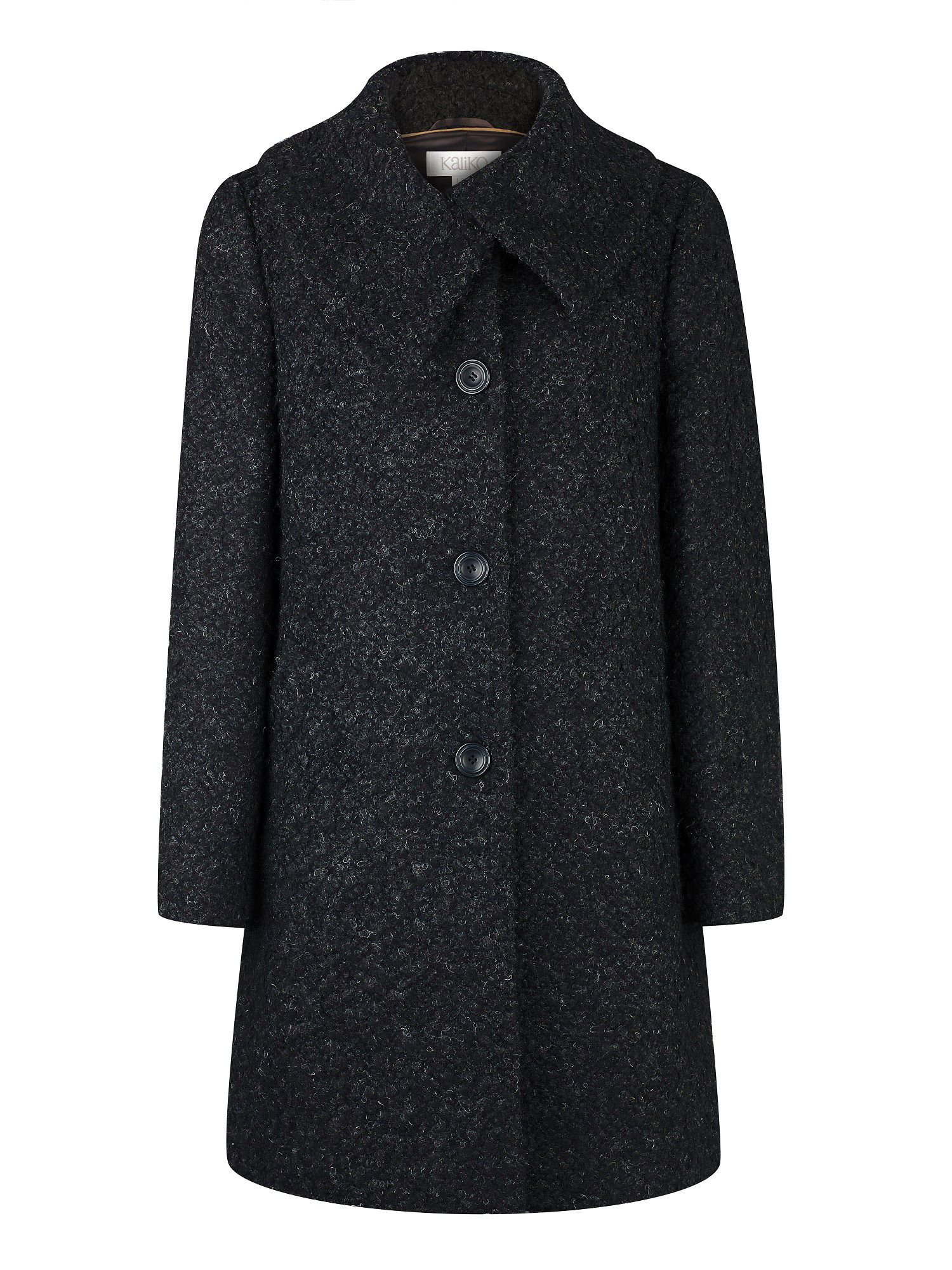 Dark Grey Boucle Swing Coat