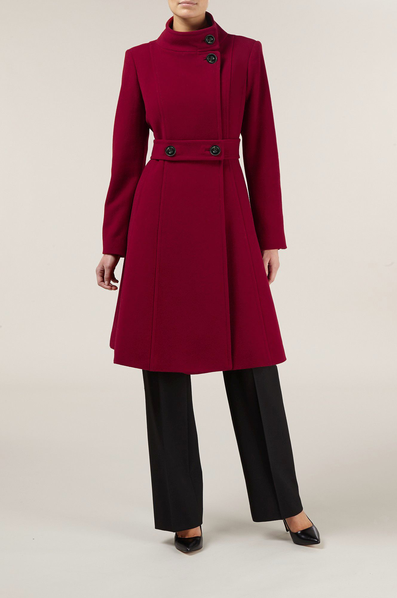 Berry Full Skirt Wool Coat