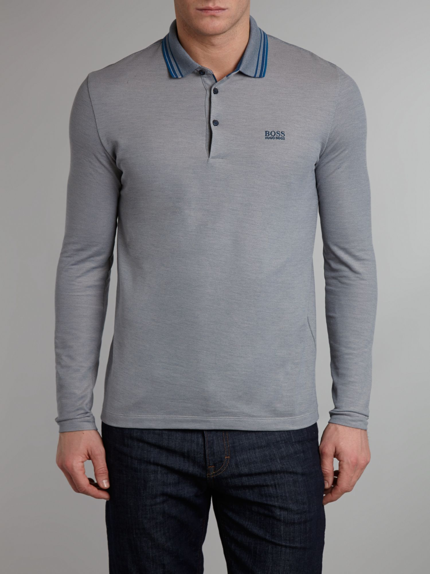 Long sleeve oxford pique polo shirt