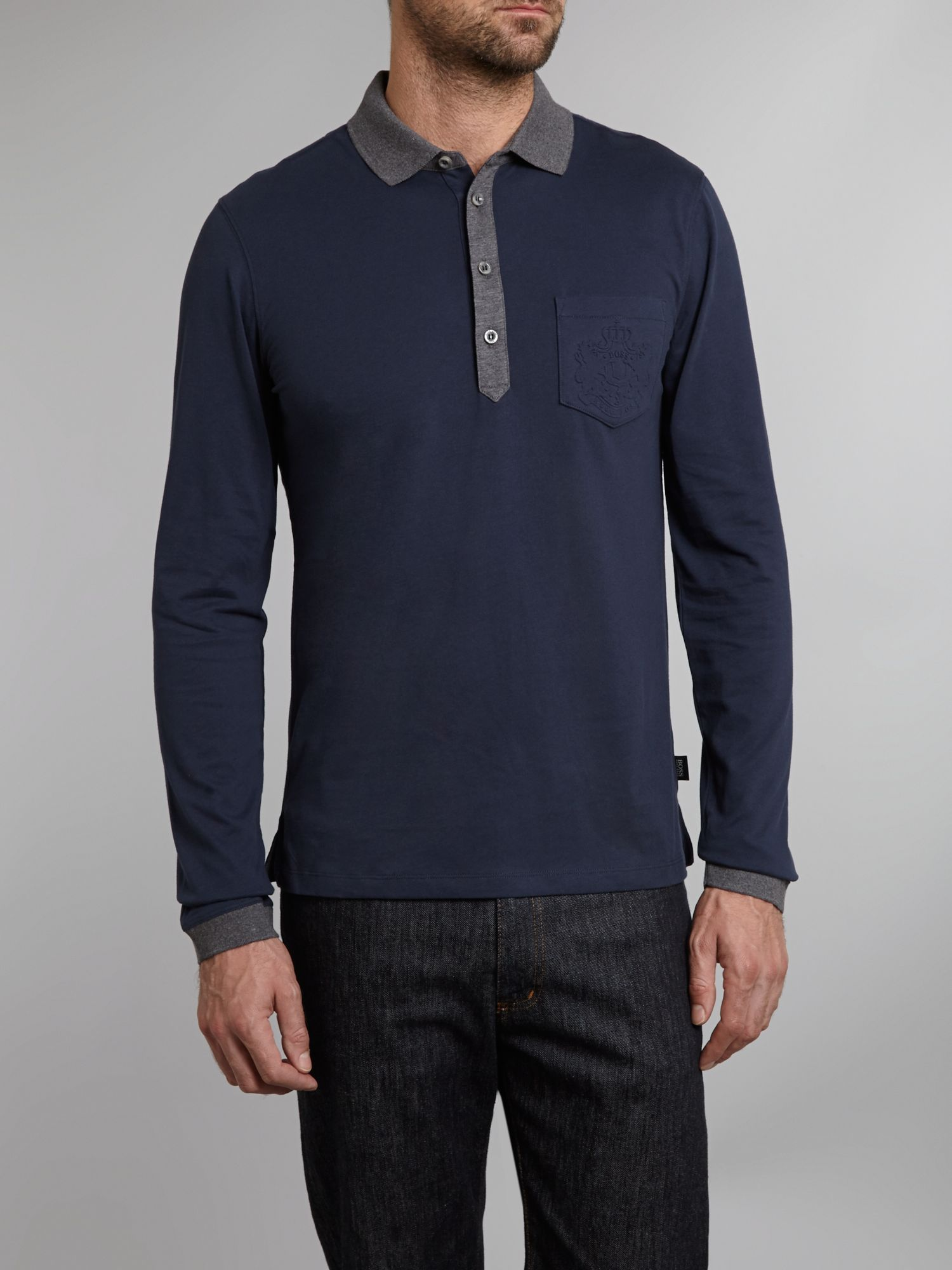 Long sleeve embossed pocket polo