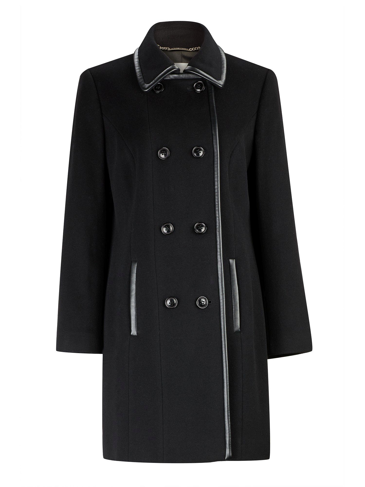 Mid-length Black Leatherette Trim Coat
