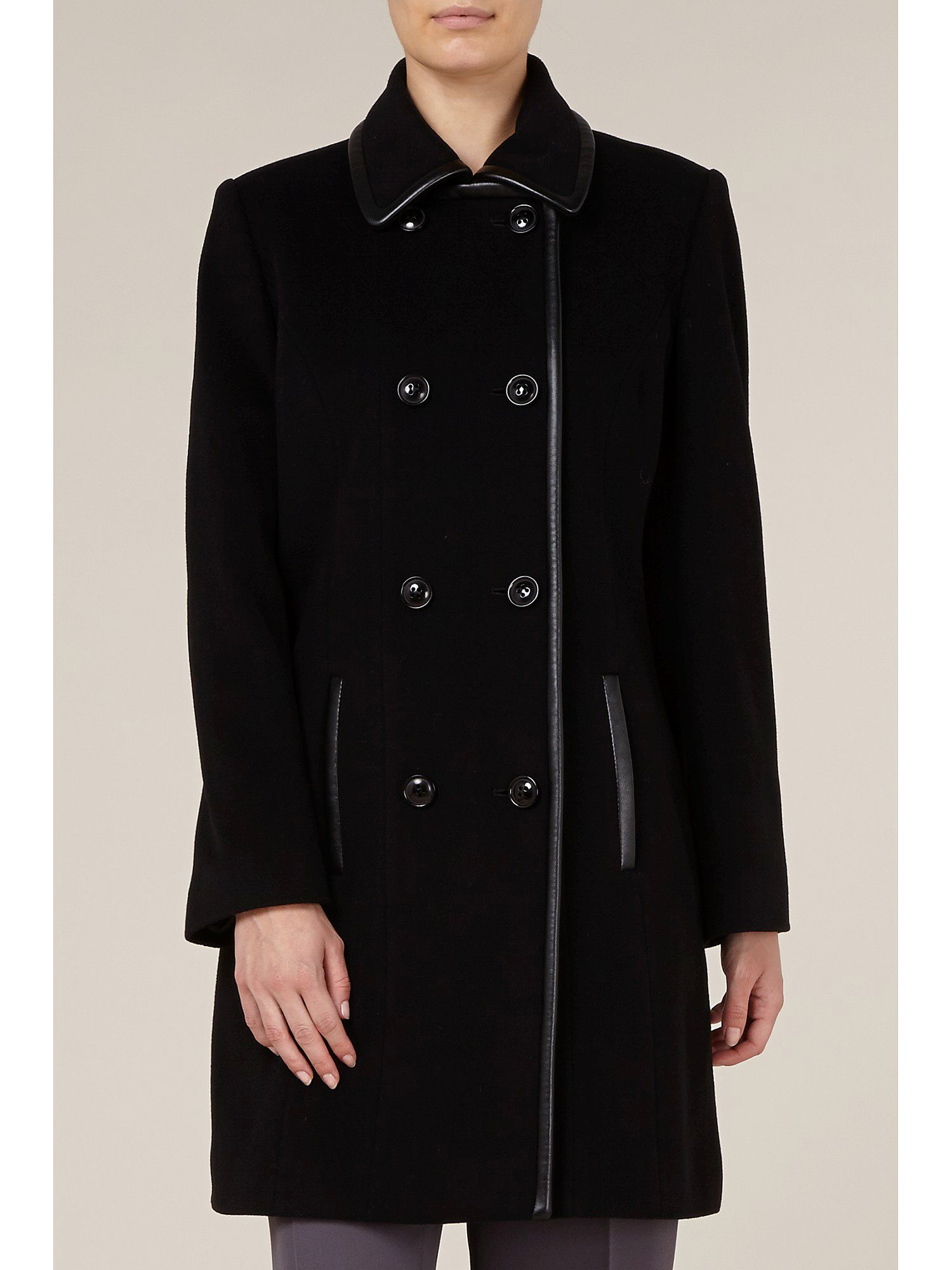 Mid-length Leatherette Trim Coat