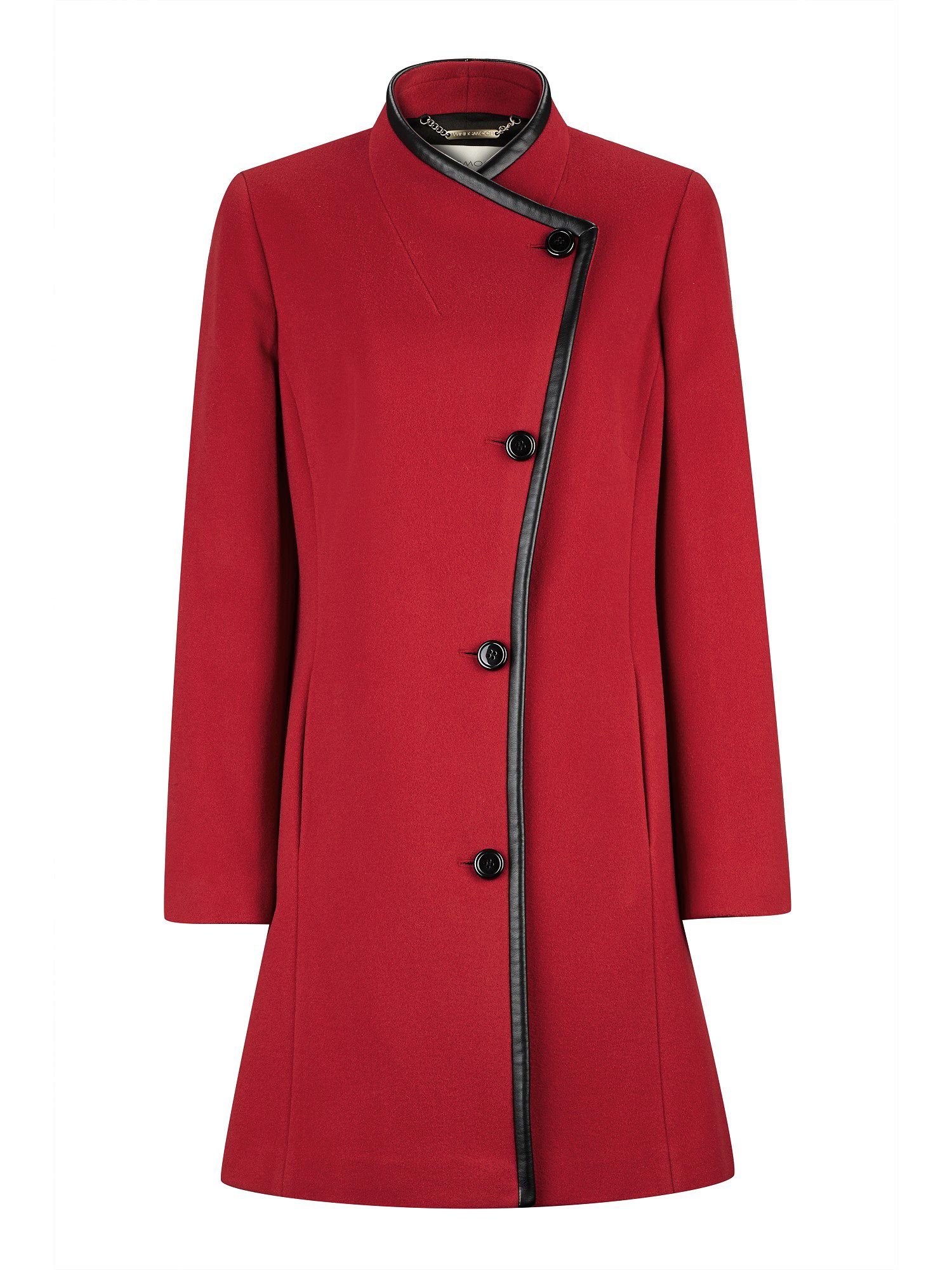 Mid-length Red Asymmetric Coat