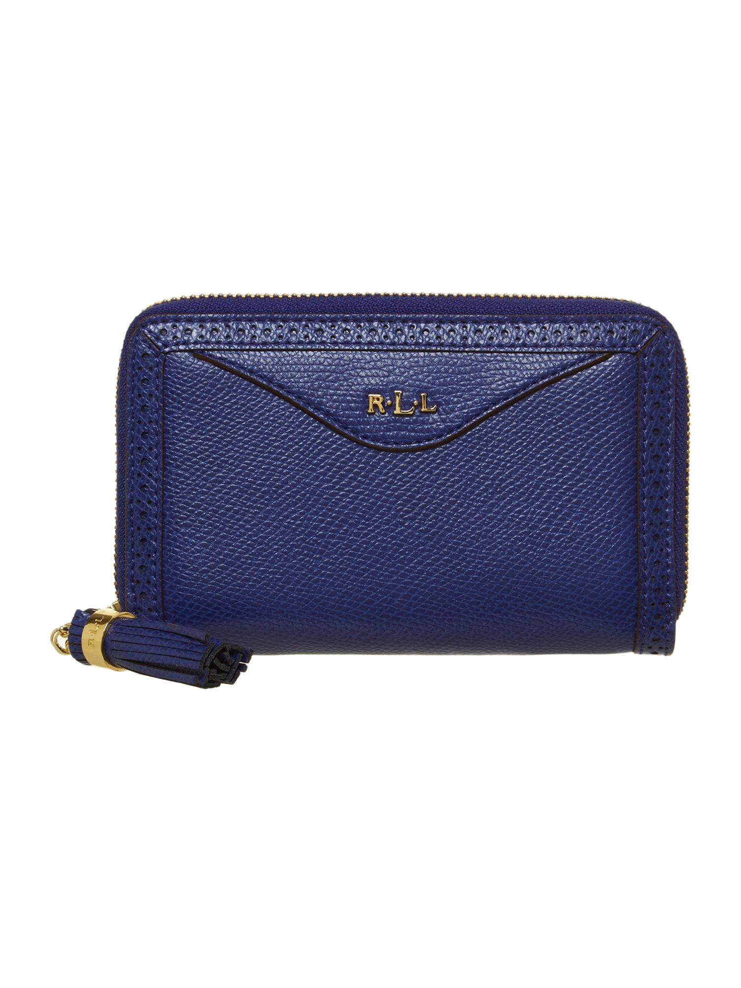 Blue zip around purse