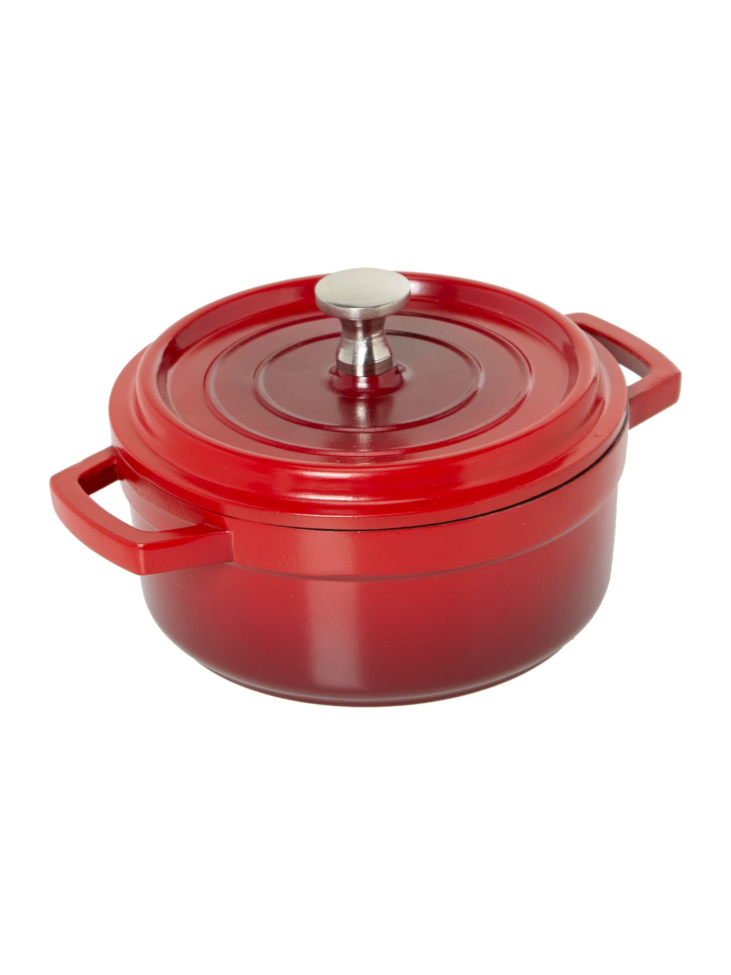 Red mini round cast aluminium dish